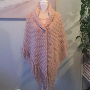 Other - Button Blush Shawl With Fringe